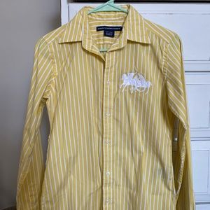 Yellow and white striped button-down shirt